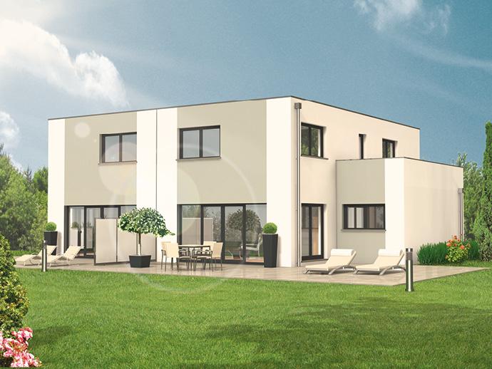Beliebt Ein Wohlfühltraum - das hebelHAUS Doppelhaus DHH Kubus 55.22 NU27