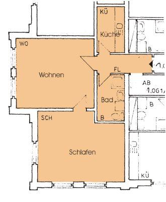 Das ist Ihre neue Wohnung ! Helle 2-Zimmer Wohnung mit Küche und Bad