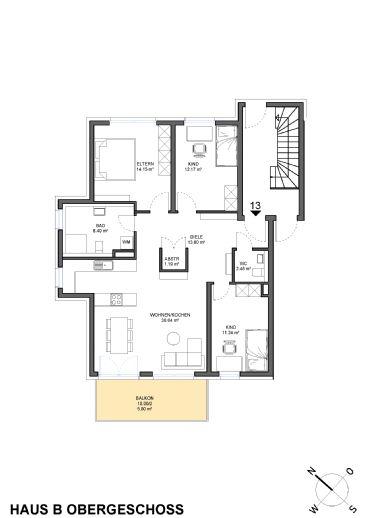 4-Zimmerwohnung mit Balkon