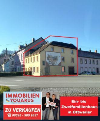 Neuer Preis: Ein- bis Zweifamilienhaus, Loggia, Hofterrasse, kleine Garage zentral Ottweiler