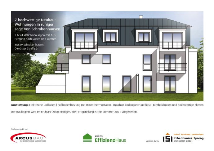 KfW55! 2-ZKB Dachgeschoss-Wohnung mit Süd-Balkon, elektrischen Rollläden, Fußbodenheizung und bodengleicher Dusche in ruhiger Lage von Schrobenhausen!