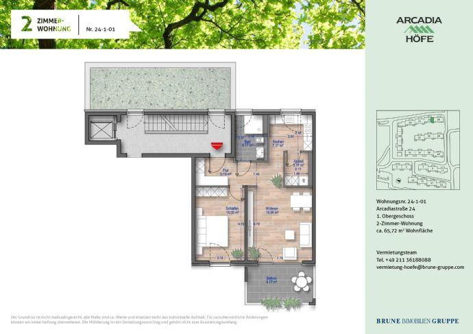 Preisgedämpfte 2-Zimmer Wohnung mit Balkon im Neubau in den Arcadia Höfen!