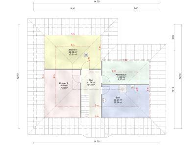 mögliche Raumaufteilung bei Dachgeschoss-Ausbau