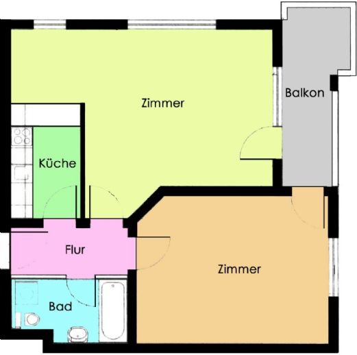 2-Raum-Wohnung im Erdgeschoss  mit Balkon