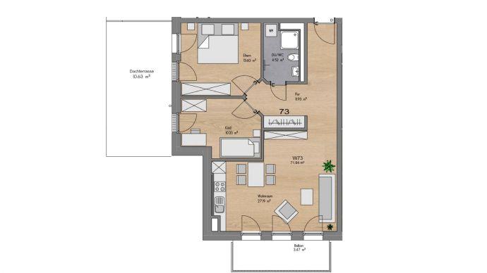 3-Zimmer-Wohnung mit Dachterrasse - Neubauobjekt Donauwörther