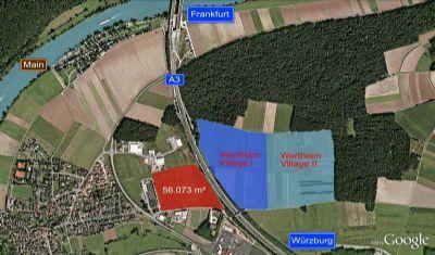 Wertheim Village: Zu erwerbende Gewerbehalle noch nicht vorhanden, mit dem letzten Gewerbegrundstück liegt direkt ne...