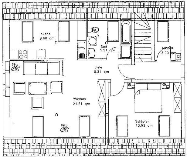ruhige, idyllische 2-Raum-Wohnung