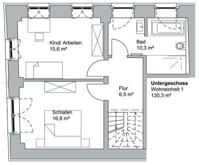 Grundriss Wohnung - untere Ebene
