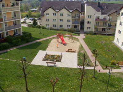 Ansicht Zentrum Wohnpark mit Spielplatz