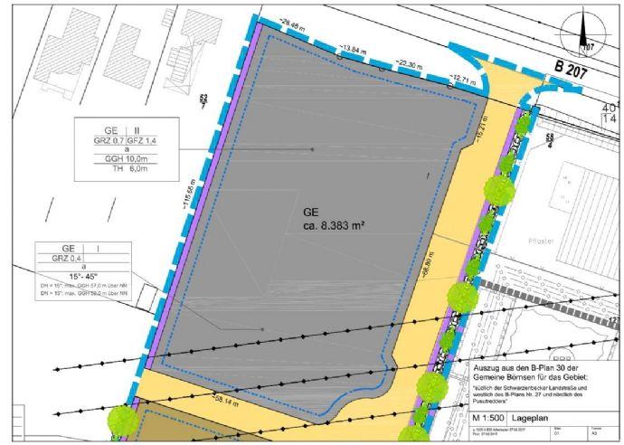 Börnsen: Top - Gewerbegrundstück ca. 8.383 m², 2-geschossig bebaubar