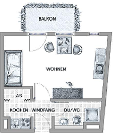1-Zi-Appartment möbliert mit Balkon / zentrale Lage