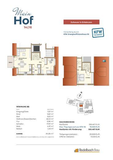 MAINHOF 14/16 ERLABRUNN- 3-Zimmer Maisonettewohnung mit Balkon - Whg. B5