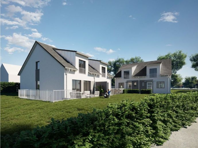 Neubau: Moderne DHH mit großem Garten