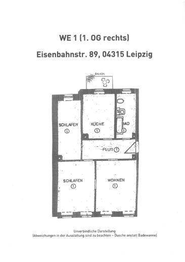 3-Zi.-Whg. mit Balkon zu vermieten (WE 1)