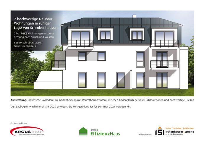 KfW55! 2-ZKB Obergeschoss-Wohnung mit Süd-Balkon, elektrischen Rollläden, Fußbodenheizung und bodengleicher Dusche in ruhiger Lage von Schrobenhausen!