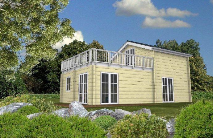 Blockhaus Baltic Mit Dachterrasse Beim Baugrundstuck Helfen Wir