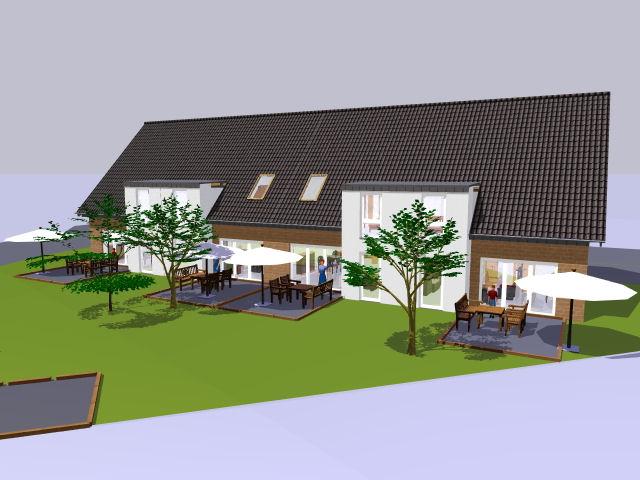 Neubau von 4 Reihenhäusern (hier Mittelhaus) als KFW-Effizienzhäuser 55 in Rheine r.d. Ems - Eschendorf!