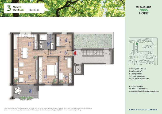 Erstbezug 3 Zimmer Wohnung mit Balkon im Neubau in den Arcadia Höfen!