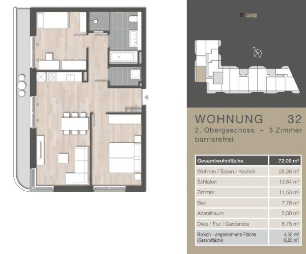 Helle 72 qm 3-Zimmer-Wohnung MIT BALKON