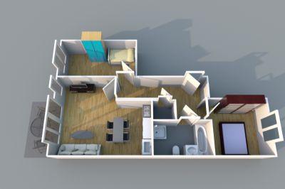 Großes Wohnzimmer und offener Küche *Terrasse und kleinem Garten*