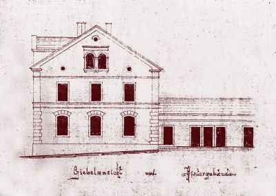 Original Planung Fassade mit Schulhof