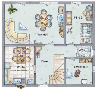 Möglicher Grundriss Eg mit 4 Zimmern