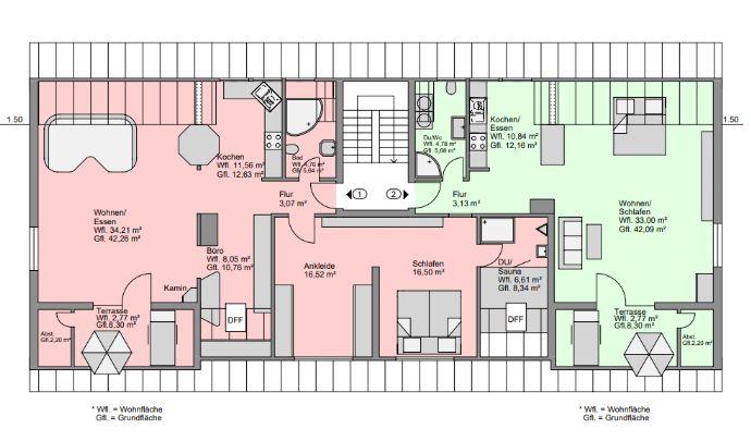 Provisionsfrei! Außergewöhnlich möblierte 2 - Zimmer Wohnung in Unterfarrnbach, offene 105 qm - komplett ausgestattet, 2 Bäder, Sauna, Balkon, Garage!