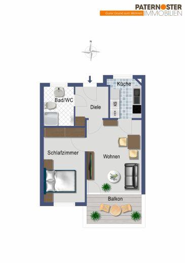 Moderne 2 Zimmer-Etagenwohnung rollstuhlgerecht mit großzügigen Räumen und Süd-Balkon für BETREUTES WOHNEN