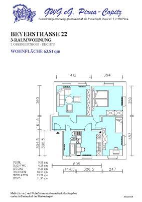 Ruhig gelegene 3-Raum-Wohnung in Pirna-Copitz