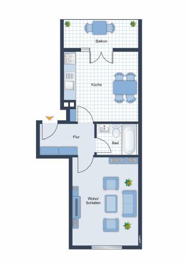 Ab sofort modernes 1,5 Zimmer-Apartment mit Einbauküche und Balkon in Ludwigshafen .