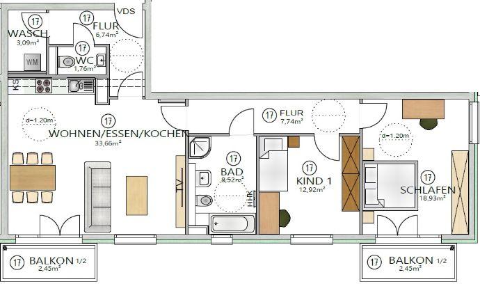 3-Zimmerwohnung mit ca 98 26m²