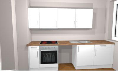 Bild von der Küche die eingebaut wird