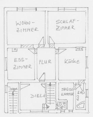 Grundriss-Skizze Erdgeschoss Wohnhaus