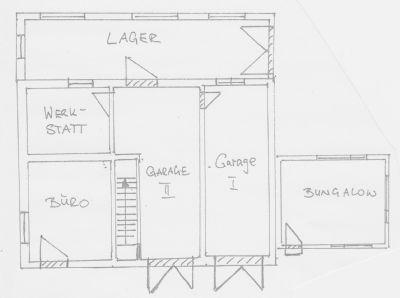 Grundriss-Skizze Erdgeschoss Büro- und Lager