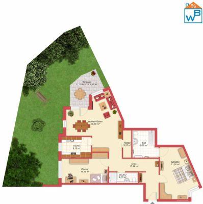 aufbereiteter Grundriss mit Gartenanteil