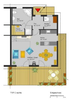 Grundriss Erdgeschoss (rechte DHH)