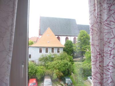 Wohnzimmer-Fenster-Ausblick Blick zur Stadtkirche