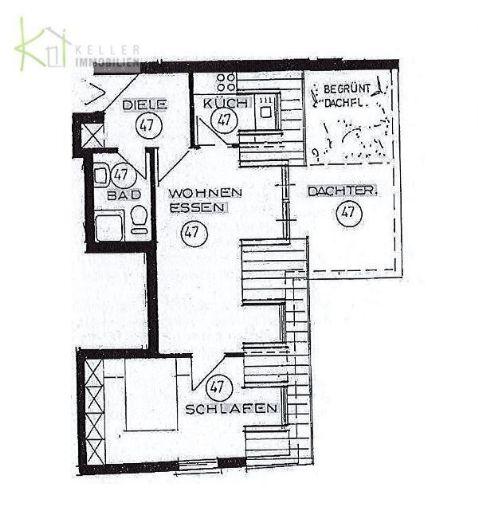 2 raum dg wohnung mit gro er dachterrasse tg im werdau 75130ed9. Black Bedroom Furniture Sets. Home Design Ideas