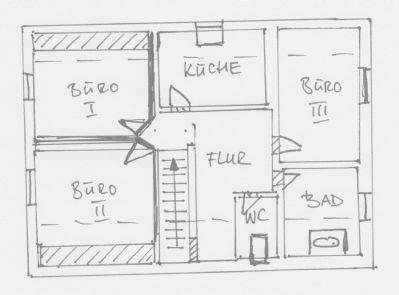 Grundriss-Skizze Dachgeschoss Büro- u Lagergebäude