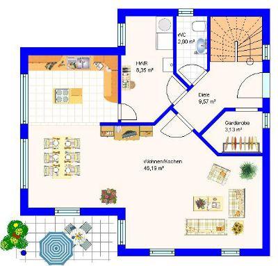 Erdgeschoss Variante offene Küche