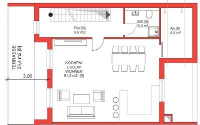 zweites Obergeschoss mit Terrasse