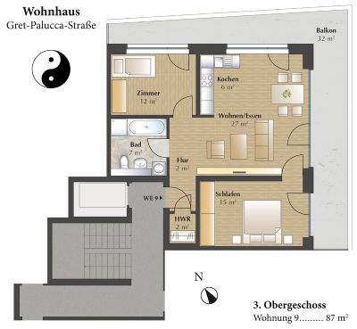 Grundriss Wohnung 1 - 1.OG bis 7.OG