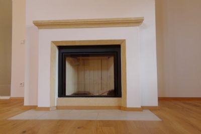 offener Kamin mit Glasscheibe + Wärmespeicherung