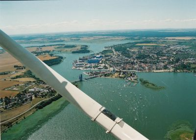 Wolgast - links Insel Usedom - Aufnahme: Freygang