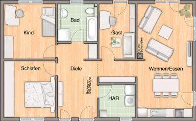 Grundrissbeispiel mit Gästezimmer