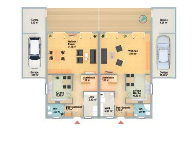 Grundriss DHH EG (Garage Zusatzausstattung)