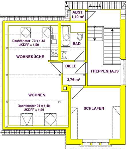 2 raum wohnung im dachgeschoss gro r hrsdorf. Black Bedroom Furniture Sets. Home Design Ideas