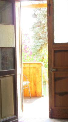 Zugang vom Wohnzimmer auf die Veranda