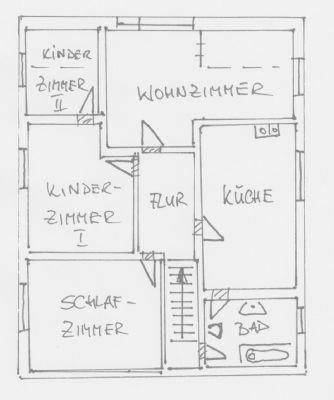 Grundriss-Skizze Obergeschoss Wohnhaus