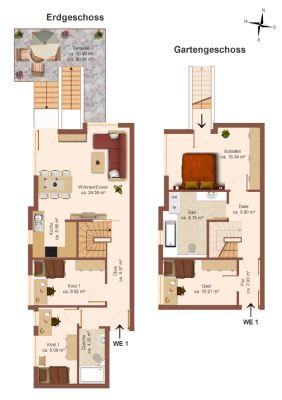 exklusive 5-Raum-Maisonettewohnung mit Gartenanteil und Terrasse